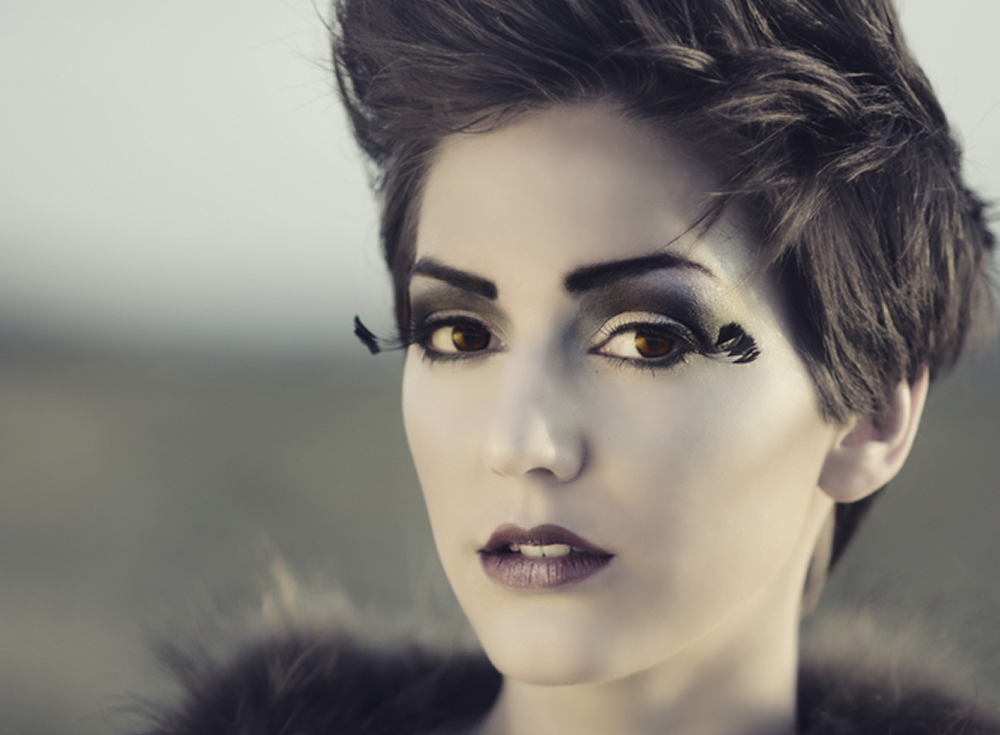woman with dark makeup