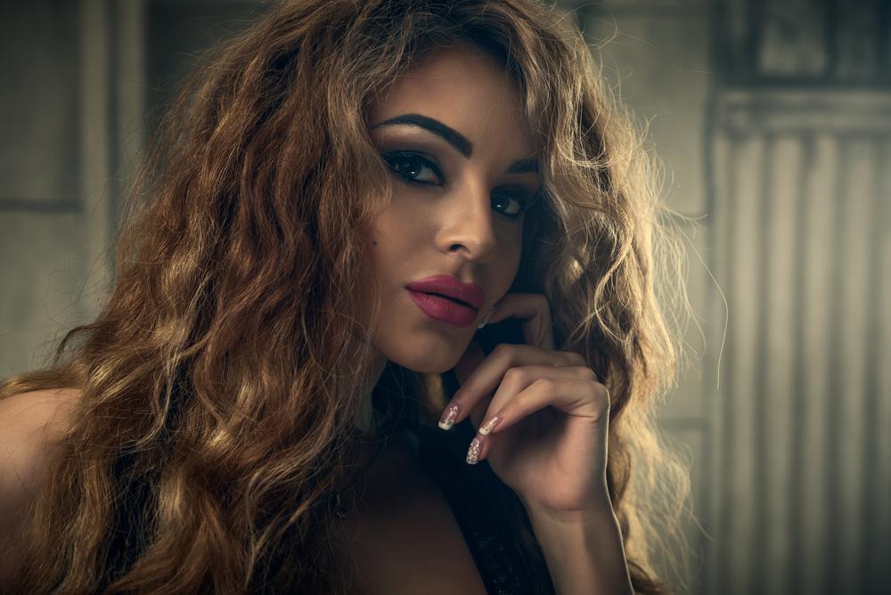 woman with hard makeup